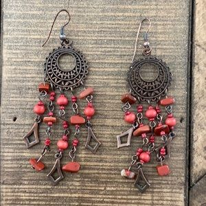 Vintage red and bronze dangle earrings